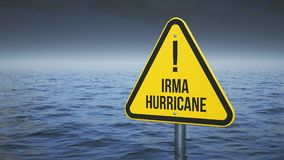 Sign Irma hurricane immersed in water. Concept 3d Stock Images