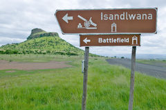 Sign for Isandlwana Battlefield, the scene of the Anglo Zulu battle site of January 22, 1879. The great Battlefield of Isandlwana  Stock Photography