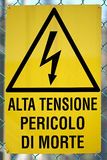 Sign in Italian that means High voltage danger of death Royalty Free Stock Photo