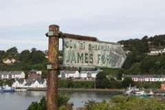 Sign for James Fort Kinsale Cork Ireland with Kinsale town. In the background royalty free stock images