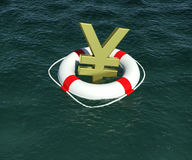 Sign of Japanese yen in terms of rescue Stock Images
