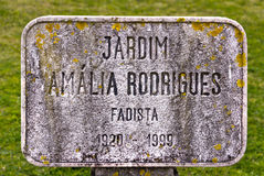 Sign in the Jardim Amália Rodrigues in Lisbon Royalty Free Stock Photo