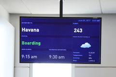 A sign at JetBlue Terminal 5 at John F Kennedy International Airport in New York indicating that the destination is Havana, Cuba Royalty Free Stock Image