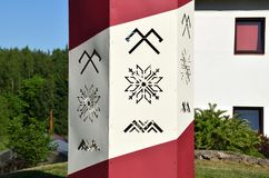 Ancient Latvian symbols: the sign of Jumis, sign of Auseklis and Māra zigzag line. The Sign of Jumis - symbolizes fertility and prosperity. The Sign of royalty free stock photos