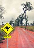 Sign and kangaroo in the outback road Stock Photography