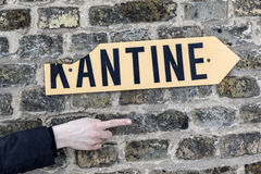 Sign kantine - canteen - at an old brick wall Royalty Free Stock Image