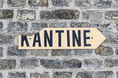 Sign kantine - canteen - at an old brick wall Royalty Free Stock Photos