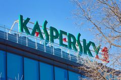 The sign Kaspersky Lab on the building of the Central office of Stock Images