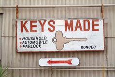 Sign-Keys Made. Business-Sign-Keys Made Household Automobil, Padlock, Bonded.  Commercial Sign Locksmith Royalty Free Stock Images