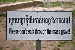Sign at the Killing Fields of Choeung Ek Stock Images