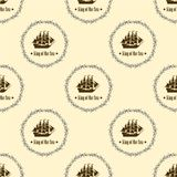 Sign of King of the Sea. Seamless vector pattern. Vector Illustration