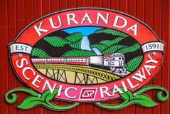 Sign of Kuranda Scenic Railway Line, Queensland Australia. royalty free stock image