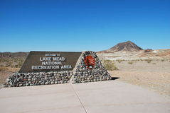Sign for the Lake Mead National Recreation Area near Las Vegas, Nevada. Photo show a sign identifying the Lake Mead National Area off of Northshore Drive near Stock Photo