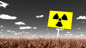 Sign in landscape warning of radioactive contamination Stock Photography