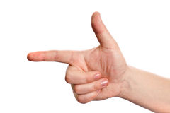 Sign Language. Male hand on a white background Stock Photo