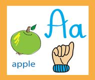 Sign language and alphabet. Cartoon letter A. Creative English alphabet. ABC concept. Royalty Free Stock Photography