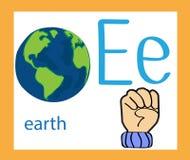 Cartoon letter E. Creative English alphabet. ABC concept. Sign language and alphabet. Sign language and alphabet Royalty Free Stock Photo