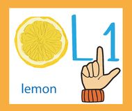 Cartoon letter L. Creative English alphabet. ABC concept. Sign language and alphabet. Sign language and alphabet.Cartoon letter L. Creative English alphabet Royalty Free Illustration