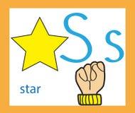 Cartoon letter S. Creative English alphabet. ABC concept. Sign language and alphabet. Cartoon letter S. Creative English alphabet. ABC concept Royalty Free Stock Image