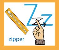 Cartoon letter Z. Creative English alphabet. ABC concept. Sign language and alphabet. royalty free stock photography
