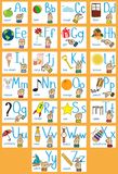 Sign language and alphabet, language for deaf and dumb persons. Creative English alphabet. ABC concept whith sign language. Hands and objects with letter Royalty Free Stock Photos