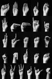 Sign language: American alphabet. Dactil sign language of American alphabet ABC stock images