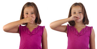 Sign language drink. Girl demonstrating drink in sign language stock photography