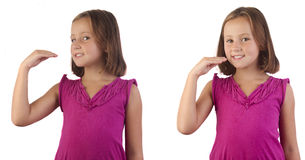Sign language eat. Girl demonstrating eat in sign language Royalty Free Stock Photography