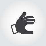 Sign language hand icon. Showing symbol. Black pictogram in flat style. Vector illustration for your different projects. Sign language hand icon. Showing symbol Stock Photo