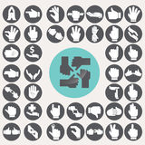 Sign Language Hands icons set. Stock Photography