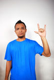 Sign language - I love you. A man's hand doing sign language for I LOVE YOU stock photos
