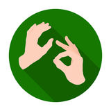 Sign language icon in flat style isolated on white background. Interpreter and translator symbol stock vector Royalty Free Stock Images