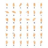 Sign language interpreter, latin alphabet signs on white vector illustration