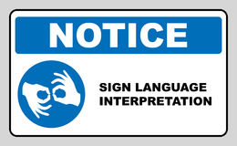 Sign Language Interpreting banner. Mandatory label. Blue circle isolated on white. Simple flat style. Vector Royalty Free Stock Photography