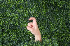 Sign Language Letter X. Made with hand against green plant background stock photo