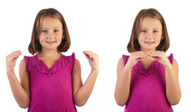 Sign language more. Girl demonstrating more in sign language royalty free stock photo