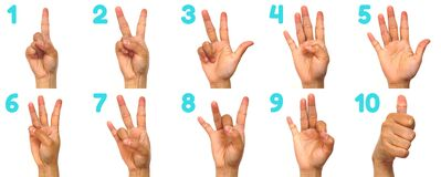 Free Sign Language Numbers 1-10 For The Deaf . American Sign Language ASL. Hand Gesture Numbers On A White Stock Photography - 187349112