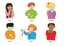 Sign language. Six multi racial children doing sign language Stock Photos
