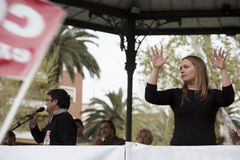 Sign language woman interpreter gestures during a meeting Stock Images
