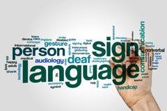 Sign language word cloud. Concept stock photos