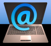 At Sign Laptop Shows Email on Web Royalty Free Stock Images