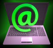 At Sign Laptop Shows Online Mailing Communication Royalty Free Stock Images