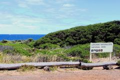 Sign Leeuwin National Park, ocean, Australia Royalty Free Stock Images