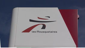 Sign of Les Mousquetaires in france Stock Images