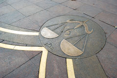 Sign of Libra in the square of Tolouse. In France royalty free illustration