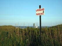 Sign for lifeguard parking  Ditch Plains Beach Montauk New York Royalty Free Stock Photos