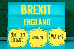 Sign with light inscription in German Brexit, England, Northern Ireland, Wales and Scotland in English Northern Ireland, Scotland,. Wales symbolizing the stock photo