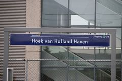 Sign at the light rail station Hoek van Holland where stop is created for the Hoekse Lijn but still not running due to technical i. Ssues stock images