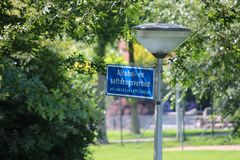 Sign on lighting post that using alcohol or soft drugs are not allowed by local law of municipality of Zuidplas in the Netherlands.  royalty free stock photos