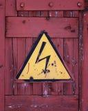 Sign lightning. The sign a lightning beaten on a door to the building Stock Photos